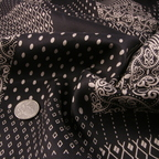 Black and Cream Silk Twill fabric