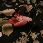 Black, Dusty Rose and Light Green Silk Georgette fabric
