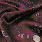 Burnt Orange, Dark Plum and Fuchsia Silk Charmeuse fabric