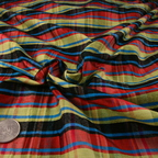 Red, Black, Aqua and Yellow Silk Charmeuse fabric