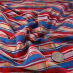 Red, Blue and Peach Silk Shantung fabric