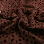 Brown Cotton Eyelet fabric