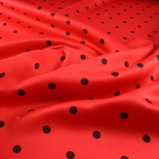 Red and Black Satin Peau De Soie fabric