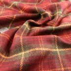 Red and Green Wool Suiting fabric