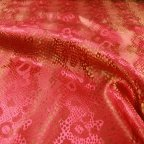 Hot Pink and Gold Polyester Jacquard fabric