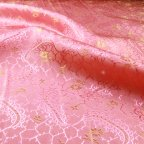 Pink and Gold Polyester Jacquard fabric